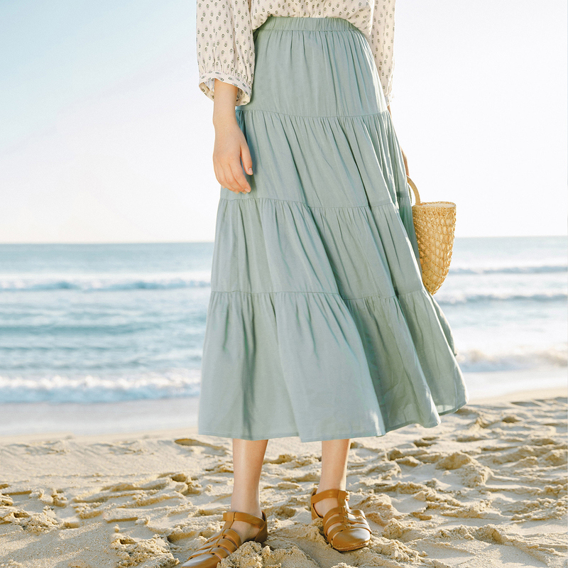 INMAN 2020 Summer New Arrival Elastic Waist Slimmed All-match Leisure Tiered Skirt