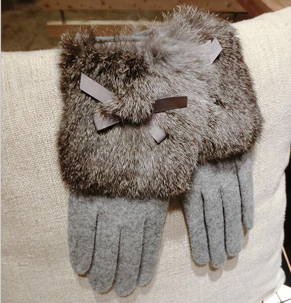 Women's Autumn Winter Thicken Warm Natural Rabbit Fur Wool Gloves Lady's Touch Screen Cashmere Glove Winter Driving Glove R2278