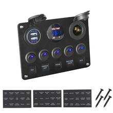 LEEPEE Digital Voltmeter Dual USB Port 12V Outlet Waterproof Car Marine Boat LED Rocker Switch Panel for BMW E46 Audi A4
