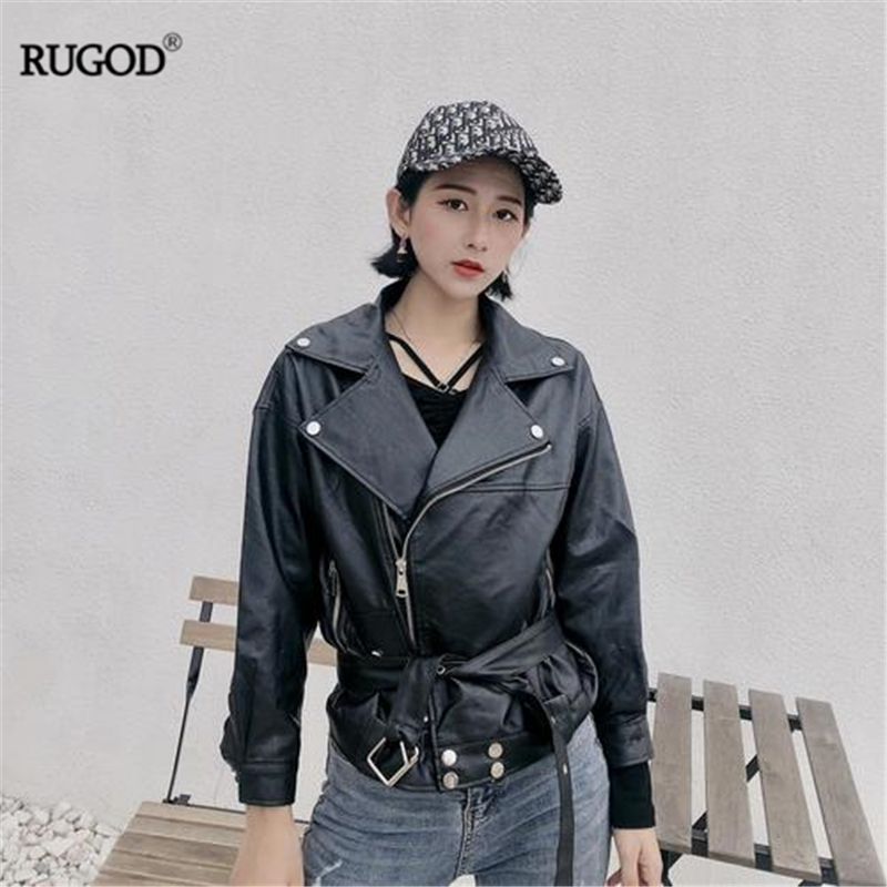 RUGOD 2019 New Autumn Winter Cool Women   Leather   Jacket Motorcycle Zipper Loose Pu Jacket With Sash Temperament Fashion Outwear