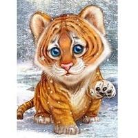 Mosaico de tigres de diamantes DIY, bordado de animales, punto de cruz, pintura de diamantes cuadrados completos para niños, regalo de pasatiempo