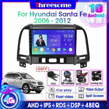 Android 10.0 8 Core Car Radio For Hyundai Santa Fe 2006-2012 Multimedia Video Player stereo DSP RDS GPS Navigation 4G+Wifi FM image