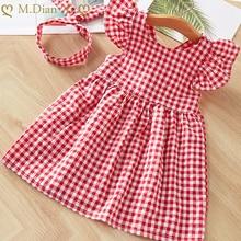 Dresses Summer Umbrella Print Girls Cute Sleeveless A-Line for O-Neck
