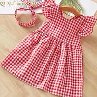 Bebé niñas vestidos de verano viste a los niños sin mangas lindo paraguas o-Cuello vestido de verano vestidos de princesa para las niñas