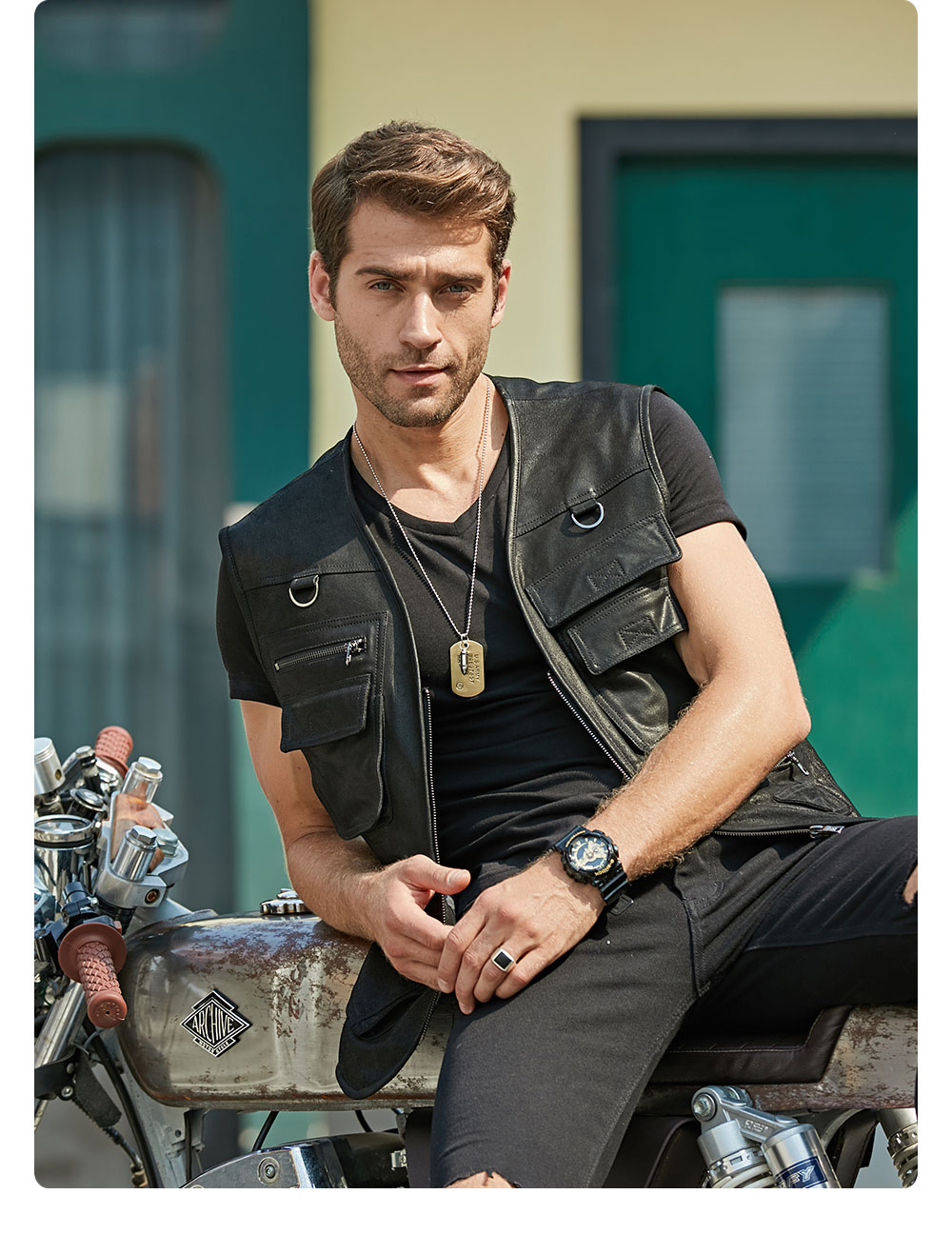 H09ca0bc4b3b047c0b66e4fc09a72ca3fe FLAVOR New Men's Real Leather Vest Men's Motorcycle Fishing Outdoor Travel Vests
