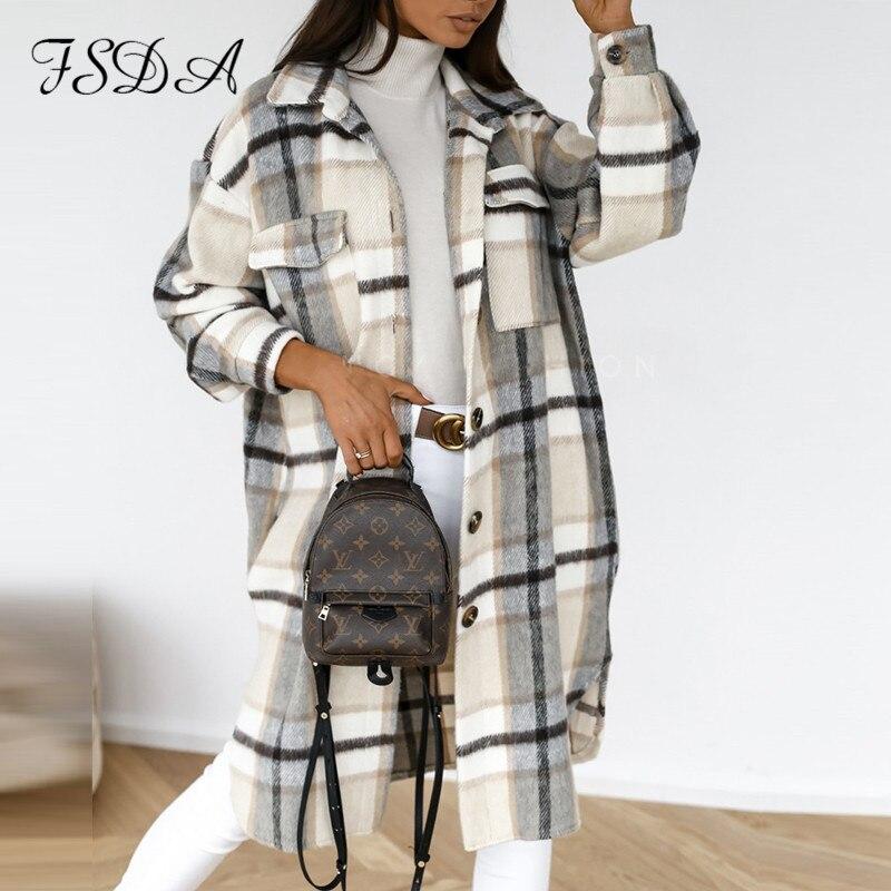Fsdaカジュアル2021秋春のチェック柄ロングブラウスシャツポケット女性ルースボタンのファッション特大の女性のツイード衣装ヴィンテージ