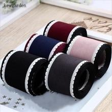 Kewgarden 1.5 1 Dotted Line White Edge Grosgrain Ribbons Handmade Tape DIY Hair Bowknot Ribbon Packing Riband Webbing 20 Yards