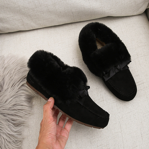 Image 2 - 2019 Winter Faux Fur Shoes Woman Loafers Warm Fluffy Plush Flock Bowtie Boat Ballet Flats Soft Roll Egg Peas Oxfords Moccasins