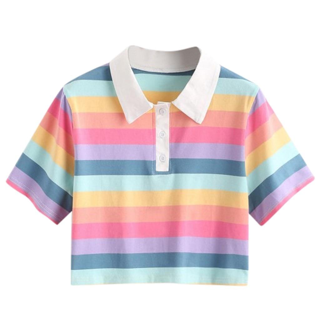 Женский короткий топ в радужную полоску с отложным воротником, короткая блузка, лето 2020, Harajuku, рубашка с коротким рукавом, топ, женская одежда Блузки и рубашки      АлиЭкспресс