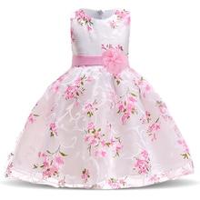 2021 летние платья для детей, для девочек, одежда для девочек детская одежда с цветочным принтом для девочек детское розовое платье для дня ро...