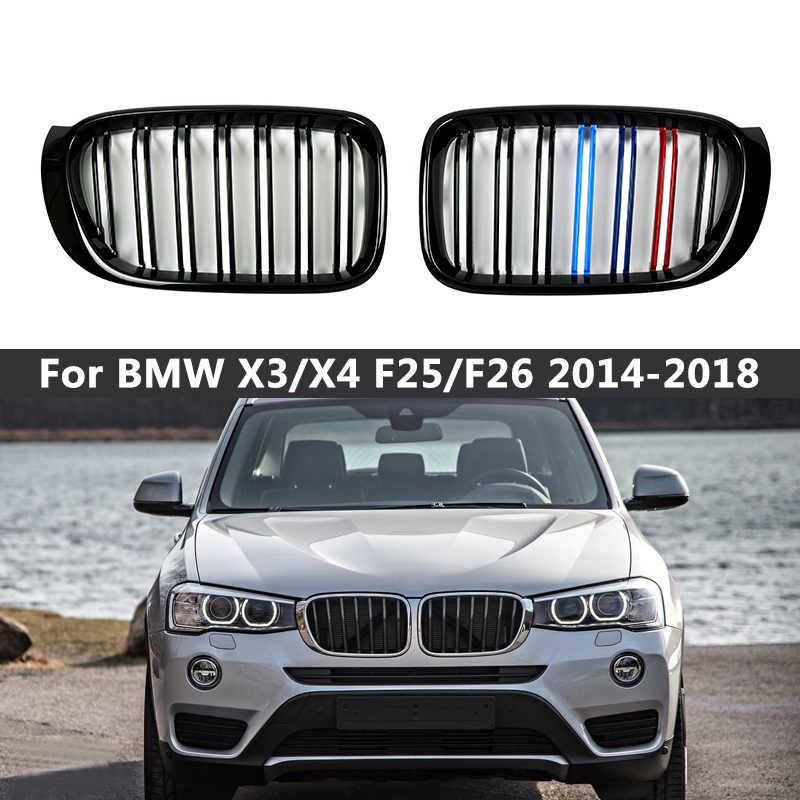 A Pair Gloss Matt Black M Color Double Slat Kidney Grill Grille Front Bumper For BMW F25 F26 X3 X4 2014-2018 Racing