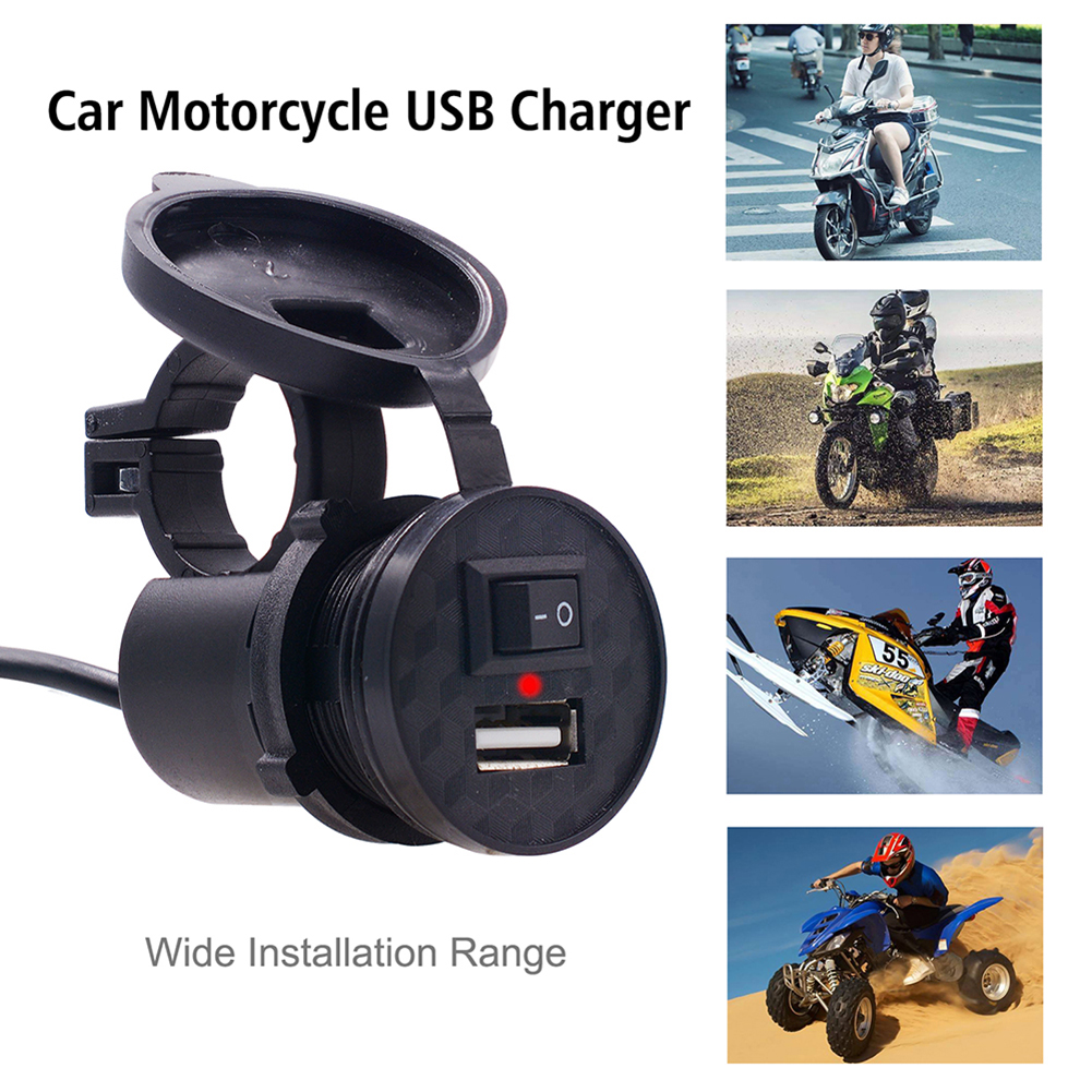 Motorcycle USB Charger Waterproof Safe Fast Charge Socket Mount Charger Power Adapter With Switch For Motor Car Truck ATV Boat