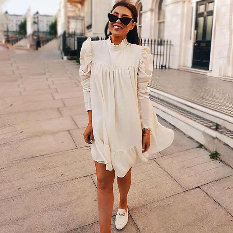 Sexy Chiffon High Neck Long Sleeve Cocktail Dresses For Cocktail Party Beach Solid Color White Black Mini Dress Vestido
