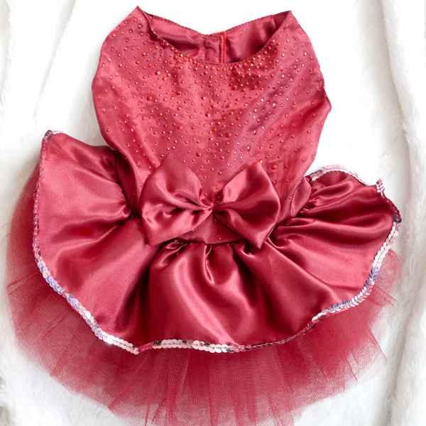 Mesh Princess Dog Dresses Summer Dog Clothes Bow Tutu Princess Dress Puppy Lace Skirt Wedding Party Pet Apparel