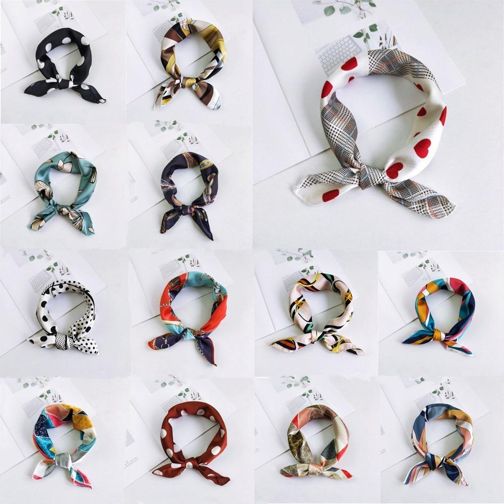 AOMU 2019 New Women 50*50cm Spring Autumn Heart Print Small Square Scarves Female Headband Hair Tie Band Wrist Wrap Head Bandana