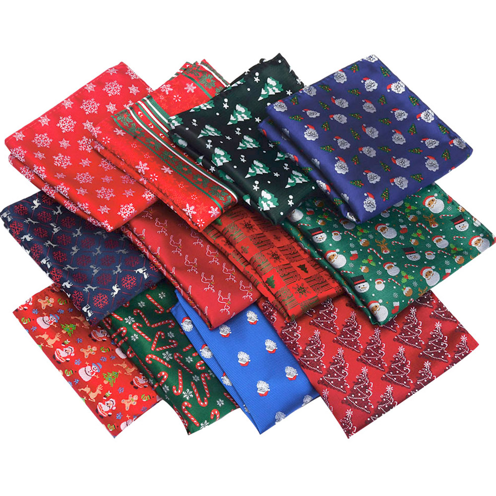 Ricnais 2019 Design Silk Christmas Handkerchief Red Bule Christmas Tree Snowmen Jucquard Pocket Square Customer Accessory Hanky