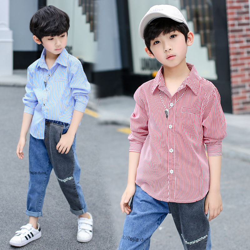 2019 Children <font><b>Shirts</b></font> for <font><b>Boys</b></font> <font><b>7</b></font> 8 9 10 to 12 <font><b>Years</b></font> Long Sleeve Stripe Blue <font><b>Shirts</b></font> <font><b>Boys</b></font> Casual Clothes Kids Summer Clothing 5A2A image