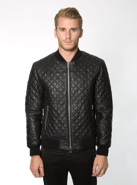 Free Shipping. Handsome Casual Style Genuine Leather Jacket.winter Cotton Sheepskin Coat.Rhombic Lattice Warm Leather Jacket