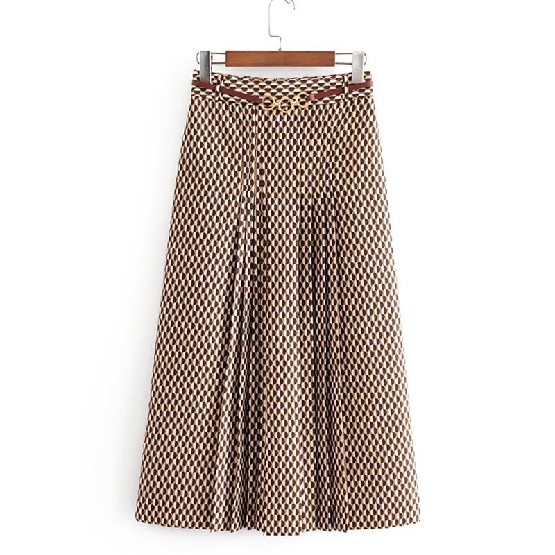 Printed High Waisted Skirts Women Fashion Tie Belt Waist Skirt Women Elegant Pleated Mid Calf Skirts Female Ladies JU