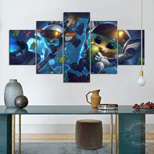 Unframed 5 Piece League of Legends Video Game Figure LOL Gnar Poppy HD Print Poster Cute Baby Pictures for Living Room Gift