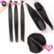 2x6 Kim K Closure Human Hair Extensions Brazilian Hair Medium Ratio Remy Silky Straight Silkswan Bundles with Closure for women - DISCOUNT ITEM  52% OFF All Category