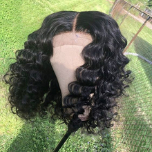 Part-Lace-Wig Wig Curly Short Bob Deep-Part-T Water-Wave Lace-Front Pre-Plucked Brazilian