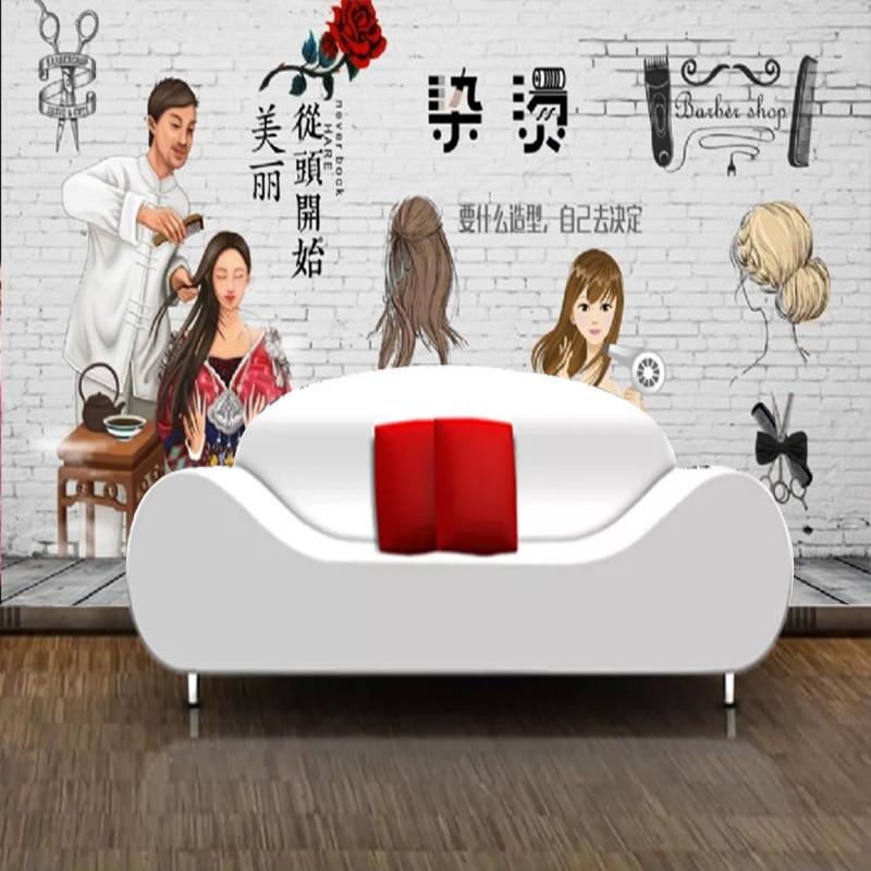 3D Retro Nostalgic Stereo Hair Salon Wallpaper Mural Hair Dressing Barber Shop Wall Wallpaper Salon-Style Figure