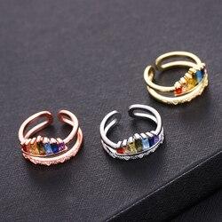 Gorąca sprzedaż luksusowa korona tęczowe pierścienie geometria dwupasmowa wielokolorowa tęczowa otwarcie regulowany pierścień Femmal na imprezę