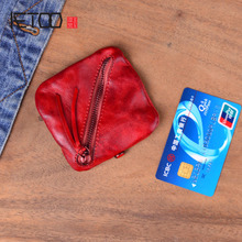 AETOO Leather Coin Purse Women Vintage Handmade Small Mini Wallet Card Holder Money Bag Case Zipper Change Purses Female Male цена и фото