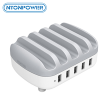 NTONPOWER Multi Ports USB Charger Dock Station Desktop Charger for Mobile Phone Kindle Tablet with Phone Holder