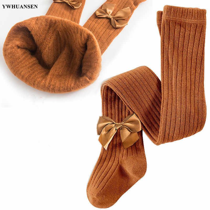 Ywhuansen 0-11 anos meninas outono inverno quente calças mais veludo dentro bowknot malha apertado para crianças vlevet forro meia-calça