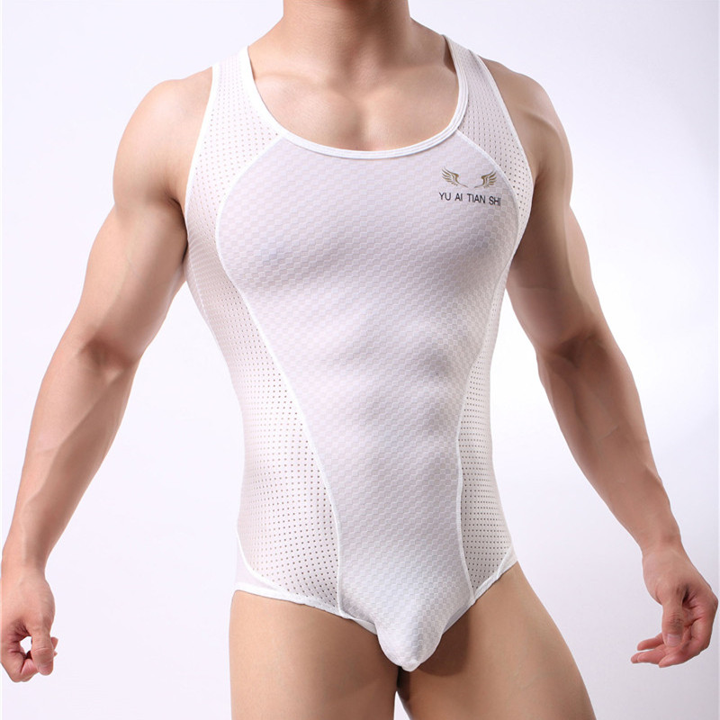 Sexy Man Vest Undershirts Mesh Men Bodysuit Man Breathable Bodybuilding Male Slim Body Shaper Fitness Wrestling Singlets Shirts