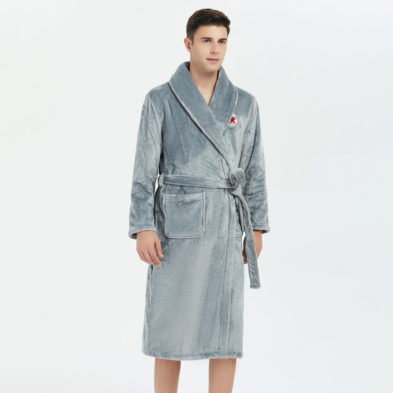 Casual Men Robe Kimono Gown Bathrobe Gown Winter Flannel Keepwarm Sleepwear Nightwear Soft Intimate Lingerie Homewer Nightgown