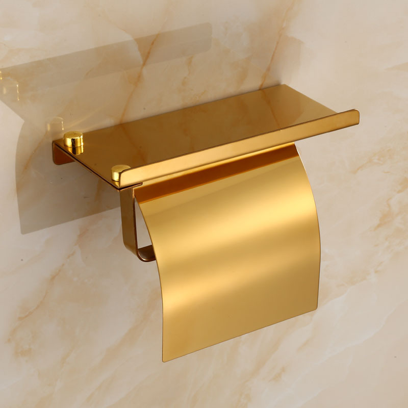 Rose Gold Stainless Steel Paper Paper Holder Bathroom Accessories Wall Mount Tissue Rack With Phone Shelf Bathroom Fixture