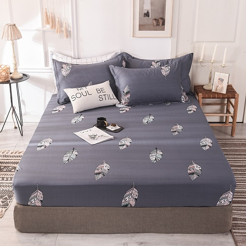 (New On Product) 1pcs 100% Cotton Printing bed mattress set with four corners and elastic band sheets(pillowcases need order) 10