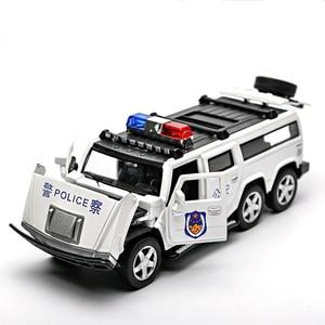 Image 5 - 1:32 ست عجلات هامر سبيكة الشرطة على الطرق الوعرة لعبة مجسمة سيارات ضوء الصوت التراجع عربة لعب سيارة للأطفال