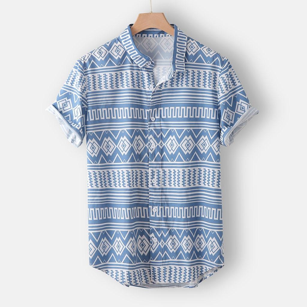 Casual Men Shirt Camisa Summer Short Sleeve Shirt Printed Retro Ethnic Loose Breathable Buttons Blouse Top Camisa Masculina 2020