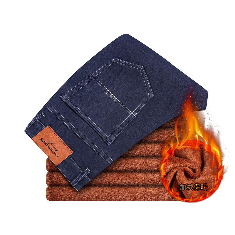 Winter   Jeans   Men Warm   Jeans   Fleece Velvet 2019 Solid Men's Classic   Jeans   Blue Europe America Business Casual Pants 38 40