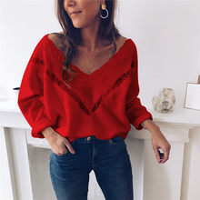 Hirigin Knitting Swearter For Women Long Sleeve V Neck Knitwear Autumn Winter Loose Casual Pullover Jumper Fashion Streetwear