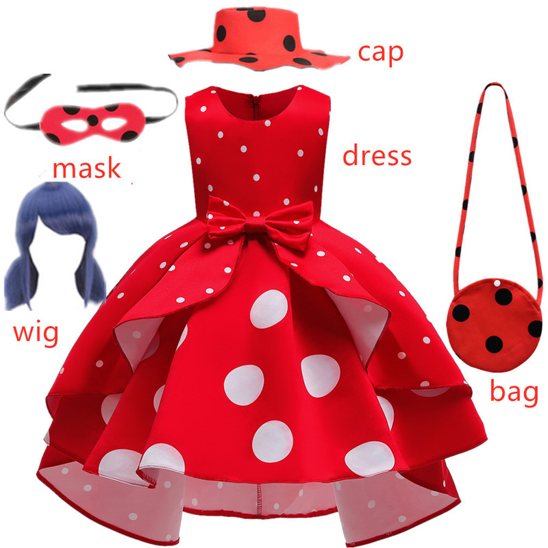 Carnival girls New Red bug birthday Party Dress toys Retro Costume Kids Girl Clothes Moana White dot Halloween Cosplay Dress+wig