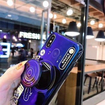 Funda de teléfono de cámara para Samsung Galaxy A11 A21 A31 A41 A51 A71 A81 A91 M21 A10S silicona suave brillante cubierta con cordón de soporte
