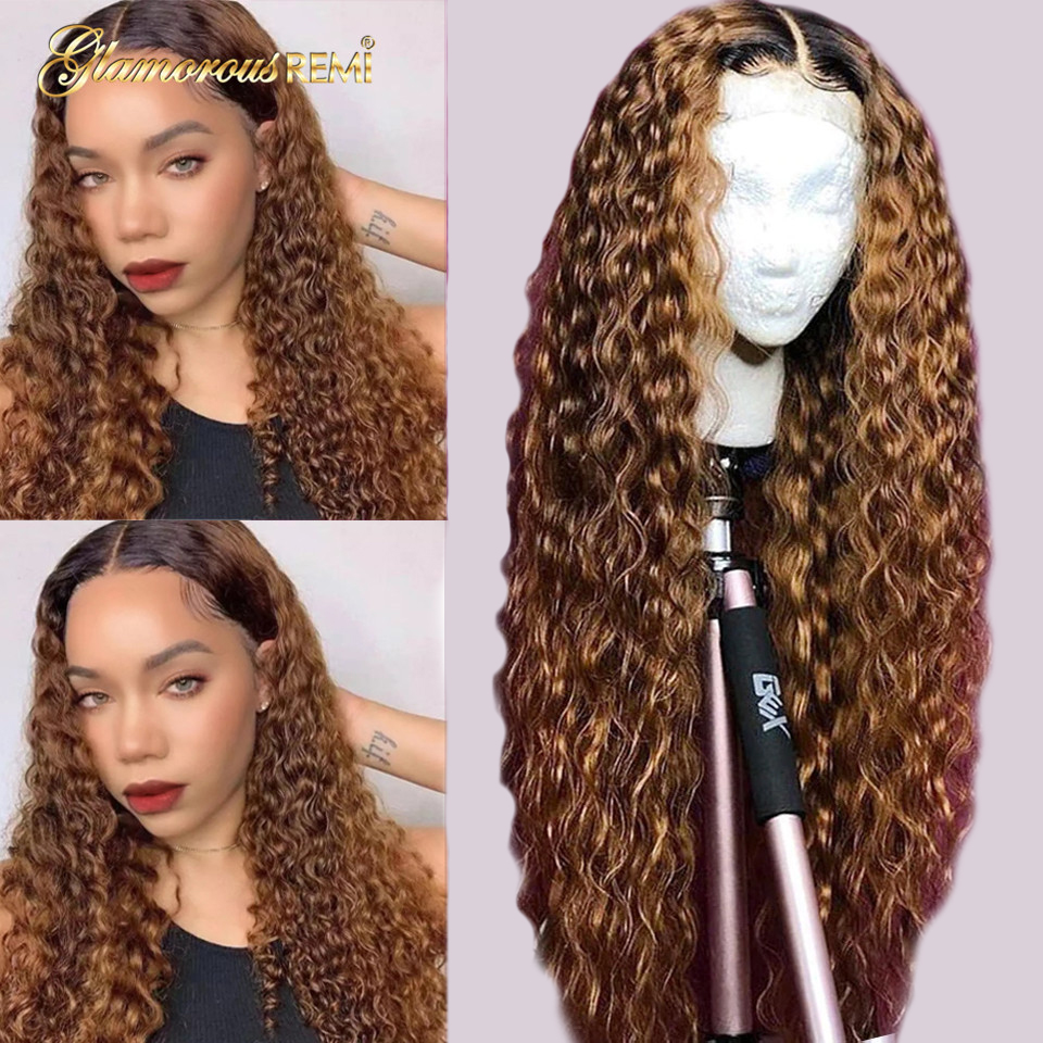 Brazilian Curly Lace Front Wigs 13x6 Ombre Blonde Long Human Hair Lace Wig PrePlucked 1b/30 Ombre Color Remy Hair 150% For Woman
