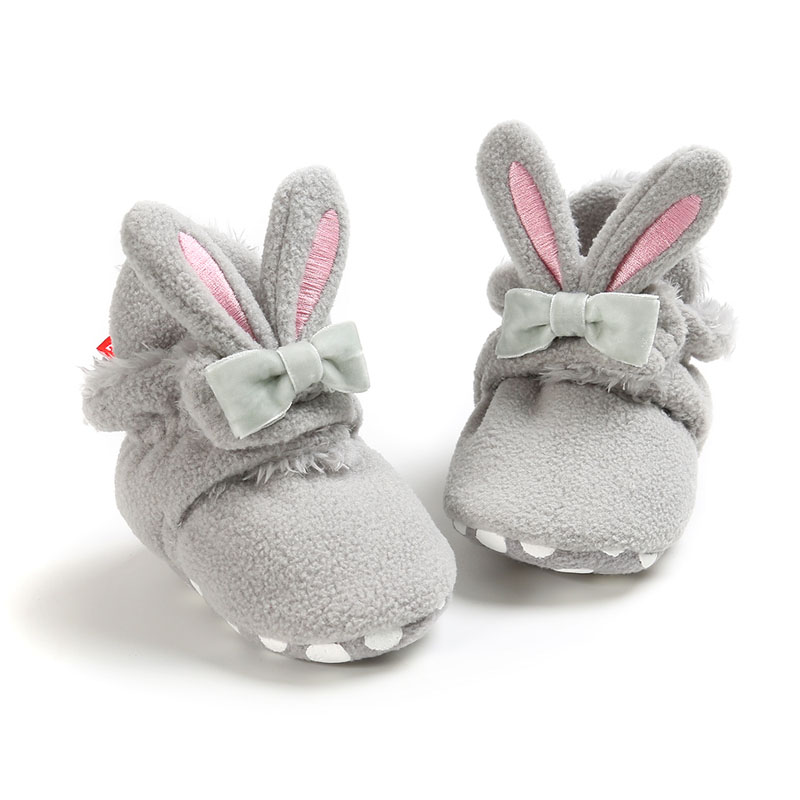 Booties Baby Socks Shoes Girl Winter Warm Cute Rabbit Ear Toddler Prewalkers Soft Anti-slip Infant Newborn Crib Crawl Shoes