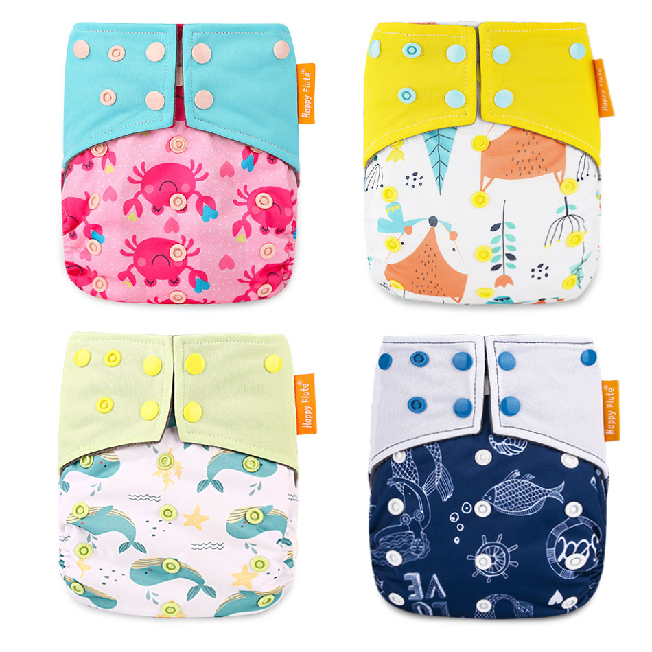 Happy Flute OS Cloth Diaper Bamboo Charcoal Pocket Diaper Christmas Baby Nappy Cloth Nappy 1 Pcs Pack