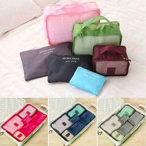 6Pcs Travel Bags Waterproof Clothes Luggage Organizer Pouch Packing Bag