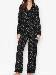 Новый летний модальный длинный рукав, Дамский Пижамный костюм, модные кружевные Прошитые пижамы, мягкая, удобная дышащая женская домашняя о...