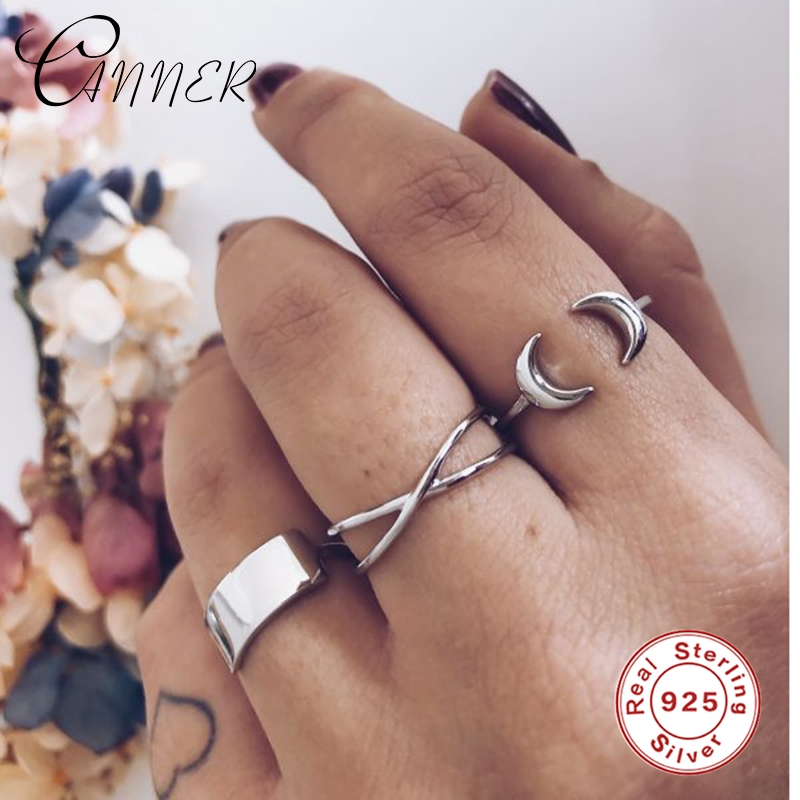 CANNER 925 Sterling Silver INS Style Luxurious CZ Zircon Opening Adjustable Ring for Women Fine Jewelry Rings anillos gold color