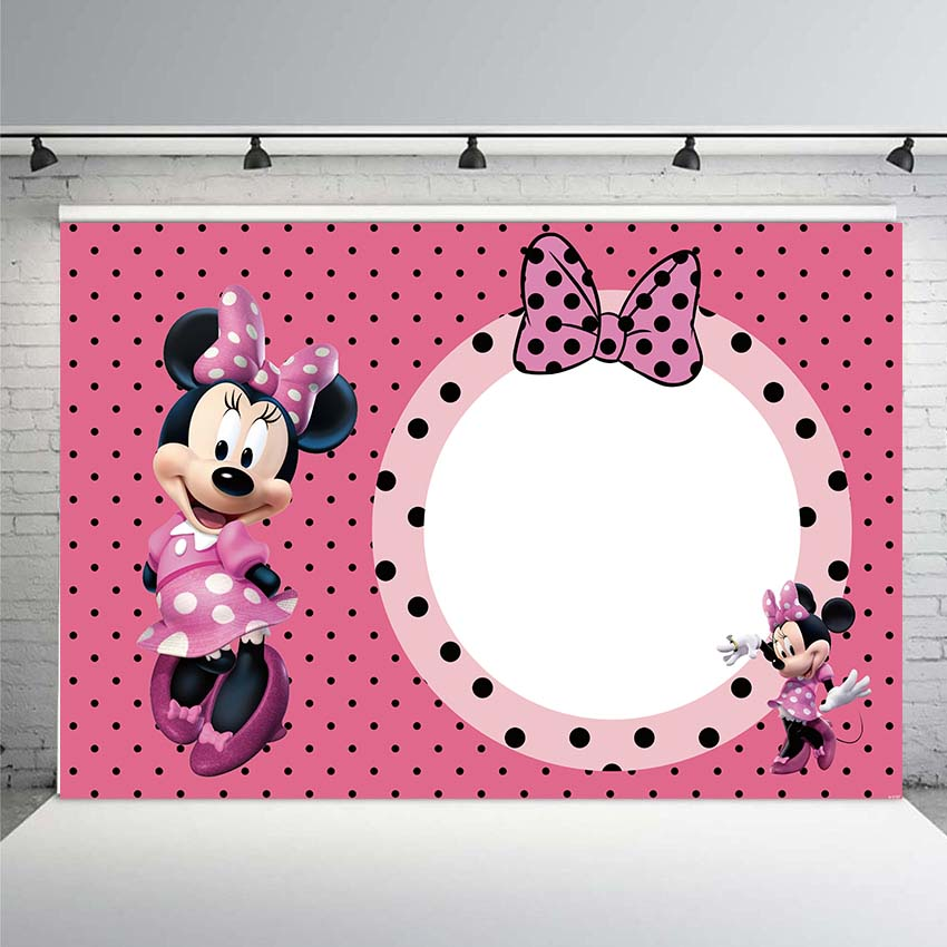 White Minnie Mouse Backdrop Polka Dot Sweet Heart Photography Background 7x5ft Pink Happy Birthday for Girls No Wrinkle Photo Studio Prop