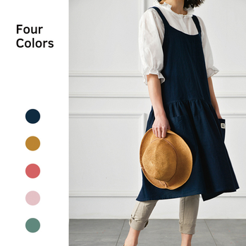 Restaurant Cooking Apron Cotton Linen Florist Coffee Shop Working Apron Brief BBQ Bib Aprons For Women Lady Cleaning Tools fashion brief nordic wind pleated skirt cotton linen chef apron coffee shops and flower shops work clothes women cleaning aprons