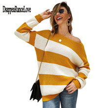 Disappearancelove Striped Loose Ladies Sweater Pullover 2019 Autumn Winter New Arrival  Jumpers Knit Sweaters Women Pull Femme